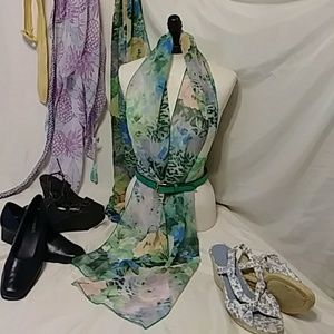 Women Sheer Scarf Accessories Watercolors bY FAITH
